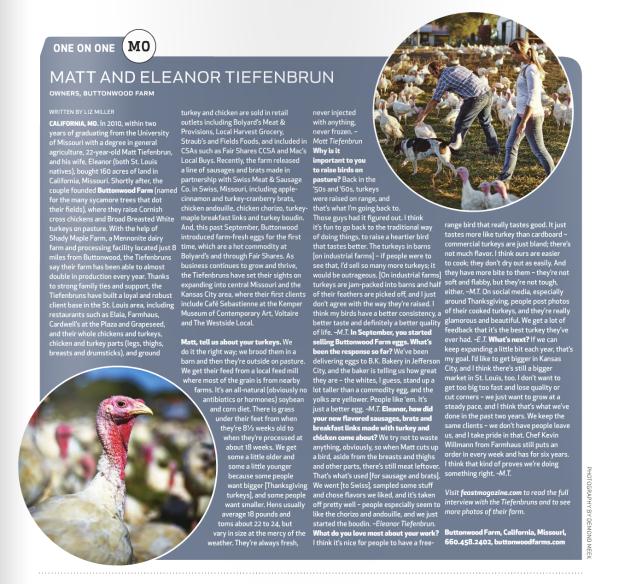 Feast Magazine one-on-one Nov 2015
